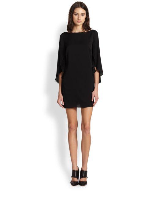 MILLY - Black Stretch Silk Butterfly Sleeve Dress - Lyst