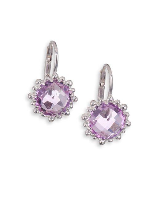 Anzie | Metallic Dew Drop Snowflake Amethyst Drop Earrings | Lyst