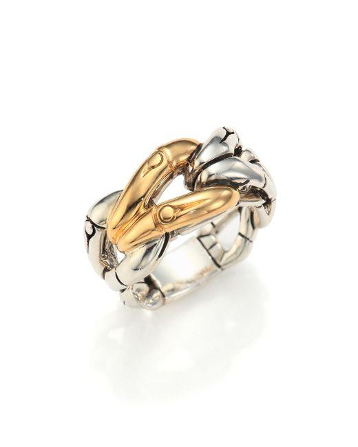 John Hardy - Metallic Bamboo 18k Yellow Gold & Sterling Silver Link Ring - Lyst