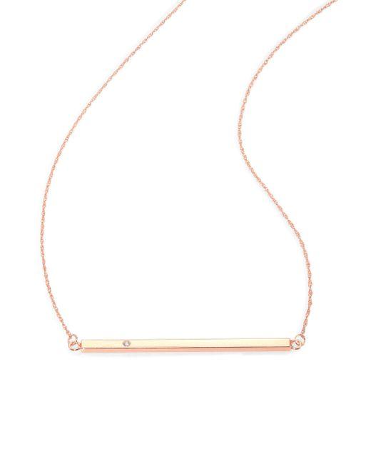 Jennifer Zeuner | Pink Chelsea Diamond Horizontal Bar Necklace | Lyst