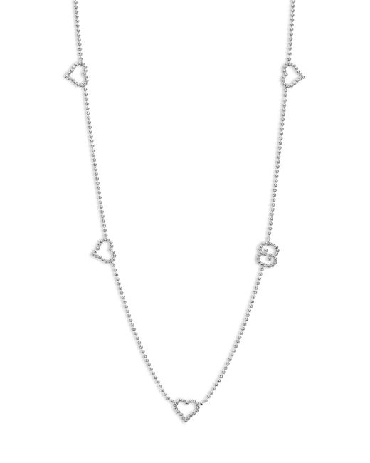 Gucci - Metallic Boule Heart & Interlocking G Sterling Silver Station Necklace - Lyst