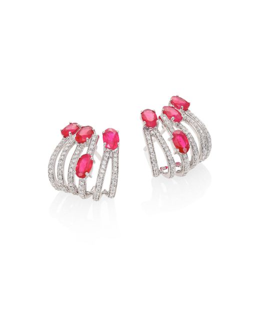 Hueb - Multicolor Rainbow Diamond, Ruby & 18k White Gold Ear Cuffs - Lyst