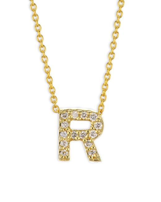 Roberto Coin - Metallic Tiny Treasures Diamond & 18k Yellow Gold Letter R Necklace - Lyst
