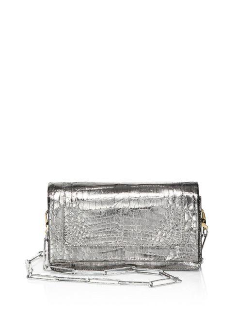 Nancy Gonzalez | Gray Mini Crocodile Leather Crossbody Clutch | Lyst