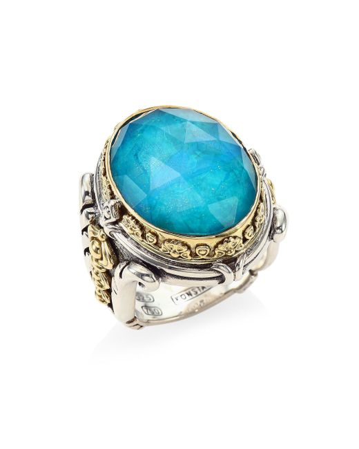 Konstantino - Metallic Iliada Chrysocolla Doublet, Sterling Silver & 18k Yellow Gold Doublet Ring - Lyst