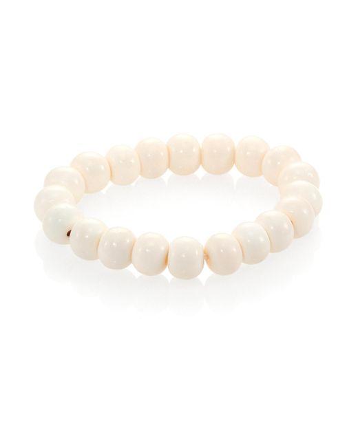 Nest - White Bone Beaded Stretch Bracelet - Lyst