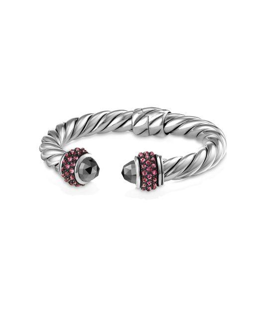 David Yurman - Metallic Cable Berries Pink Sapphire & Stainless Steel Bracelet - Lyst