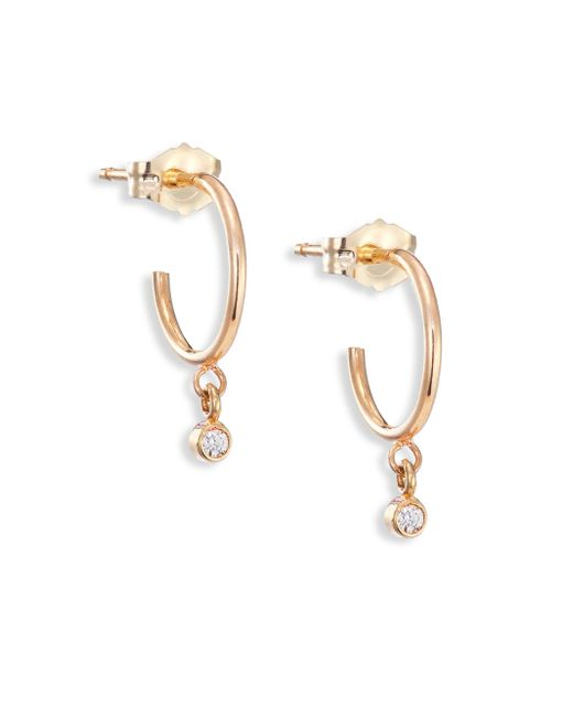 Zoe Chicco | Metallic Tiny Diamond & 14k Yellow Gold Hoop Earrings/0.3 | Lyst