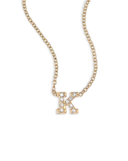Zoe Chicco - Metallic Pavé Diamond & 14k Yellow Gold Initial Pendant Necklace - Lyst