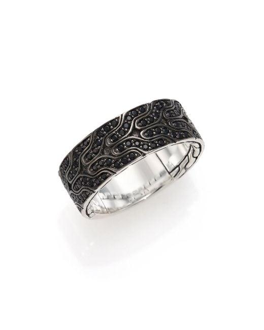 John Hardy - Black Silver Lava Ring - Lyst
