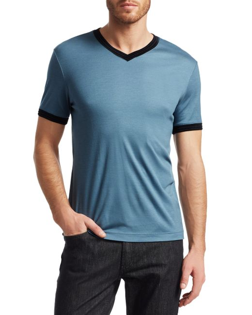 Giorgio Armani - Blue Contrasting Trim Tee for Men - Lyst