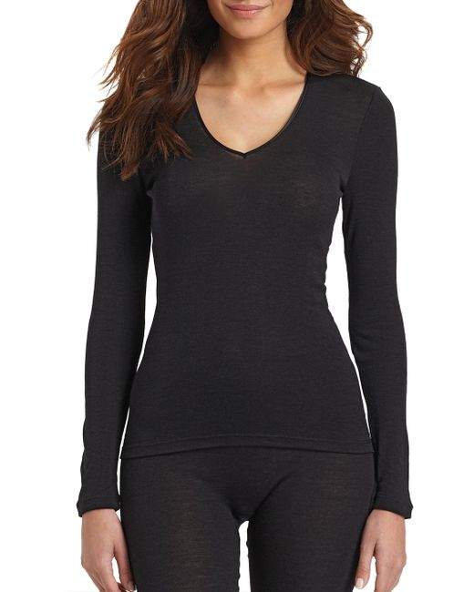 Hanro - Black Woolen Silk Long Sleeve Shirt - Lyst
