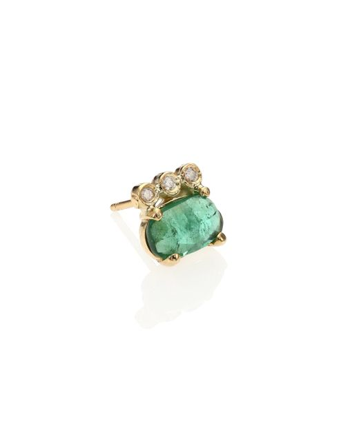 Jacquie Aiche | Metallic Green Tourmaline, Diamond & 14k Yellow Gold Three-bezel Single Stud Earring | Lyst