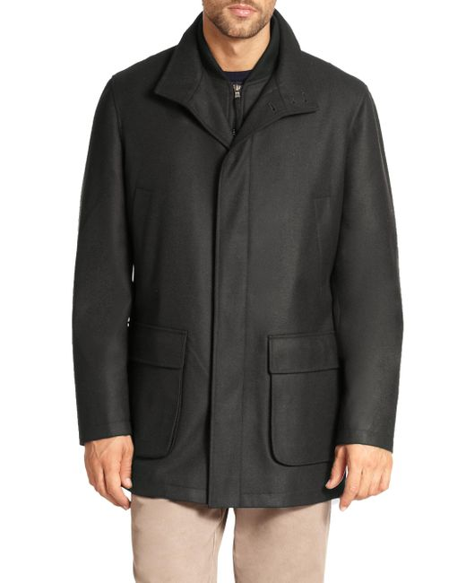 Saks Fifth Avenue - Gray Wool Overcoat for Men - Lyst