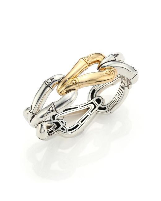John Hardy | Metallic Bamboo 18k Yellow Gold & Sterling Silver Link Bangle Bracelet | Lyst