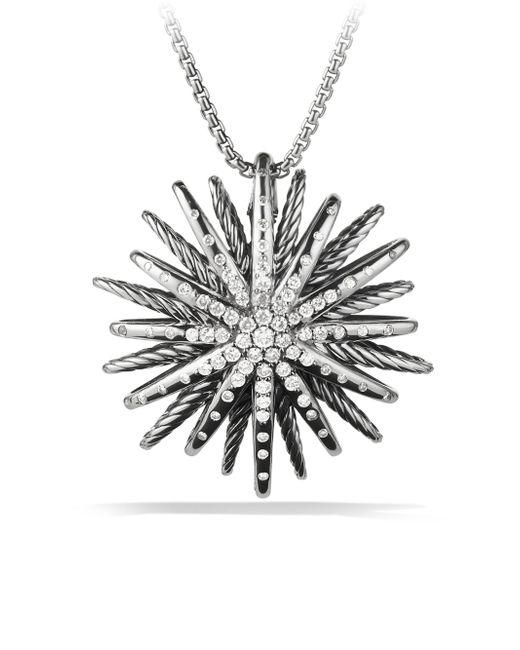 David Yurman - Metallic Starburst Large Pendant With Diamonds On Chain - Lyst