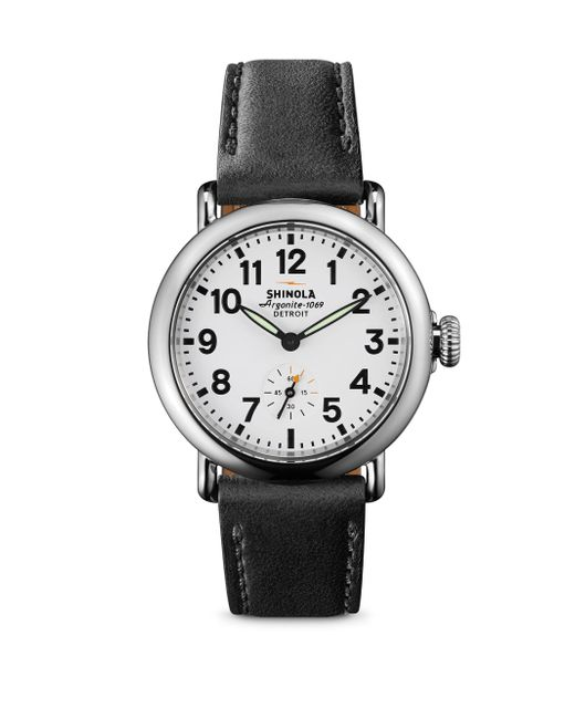 Shinola - Runwell Stainless Steel & Leather Strap Watch/black - Lyst