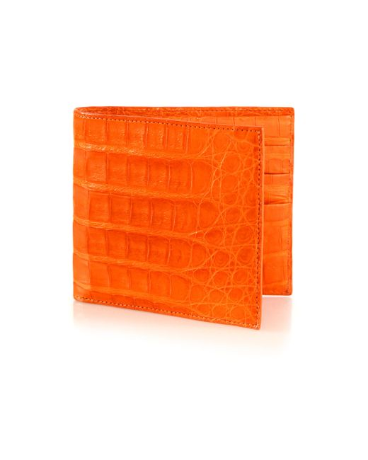 Santiago Gonzalez | Orange Crocodile Billfold Wallet for Men | Lyst