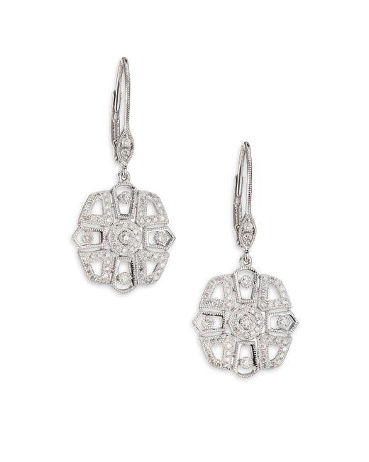 Meira T   Diamond & 14k White Gold Deco Drop Earrings   Lyst