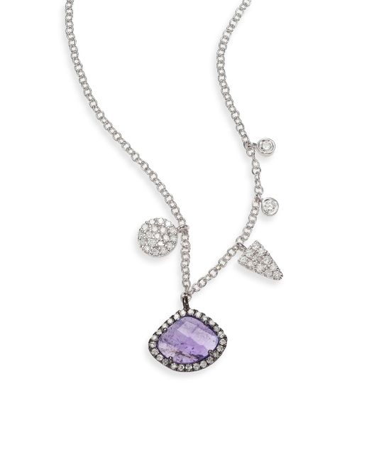 Meira T | Purple Diamond, Tanzanite & 14k White Gold Charm Necklace | Lyst