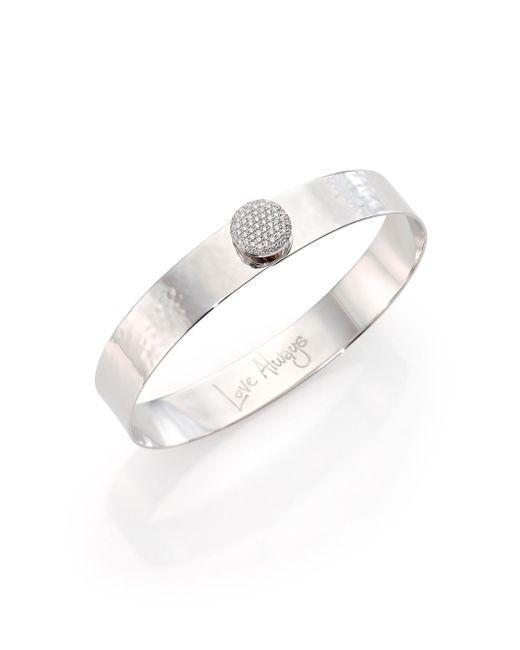 Phillips House - Metallic Affair Infinity Love Always Diamond & Hammered 14k White Gold Bangle Bracelet - Lyst
