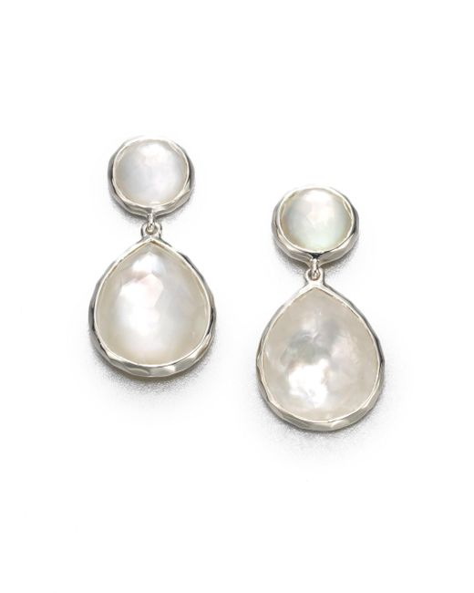 Ippolita - White Wonderland Mother-of-pearl, Clear Quartz & Sterling Silver Snowman Doublet Drop Earrings - Lyst