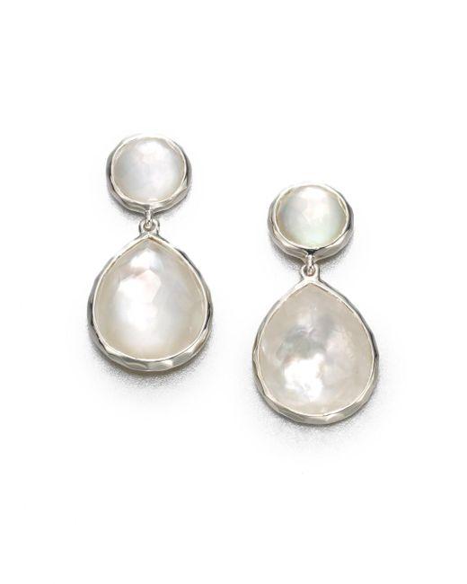 Ippolita | White Wonderland Mother-of-pearl, Clear Quartz & Sterling Silver Snowman Doublet Drop Earrings | Lyst