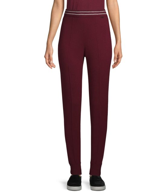 St. John - Red Cashmere-blend Knit Joggers - Lyst