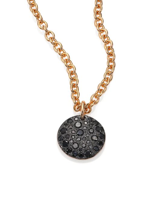 Pomellato - Sabbia Black Diamond & 18k Rose Gold Pendant - Lyst