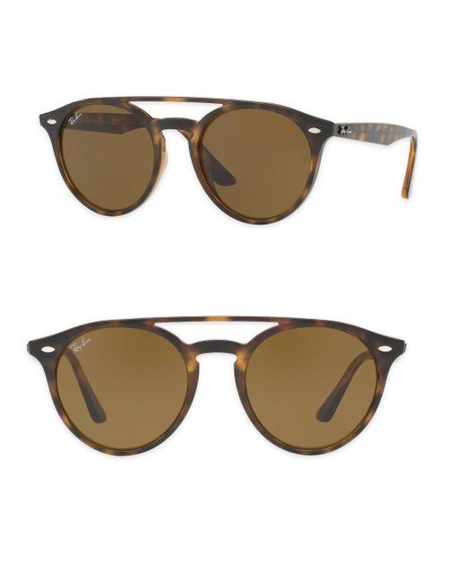 Ray-Ban - Brown 51mm Phantos Round Double-bridge Sunglasses - Lyst