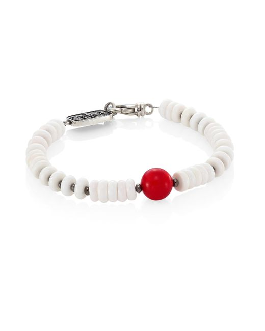 King Baby Studio | Sterling Silver, Round Red Coral & White Shell Bead Bracelet | Lyst