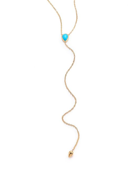 Zoe Chicco - Metallic Turquoise & 14k Yellow Gold Lariat Necklace - Lyst