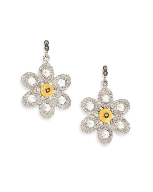 Coomi - Metallic Opera Diamond, Crystal, 20k Yellow Gold & Sterling Silver Flower Drop Earrings - Lyst