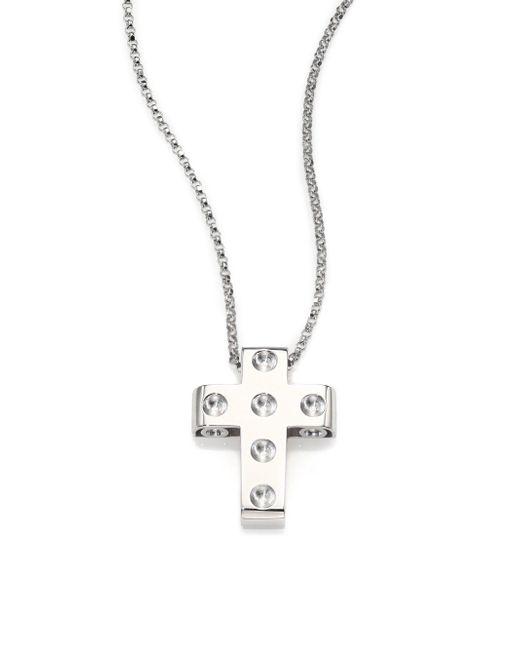 Roberto Coin - Metallic Pois Moi 18k White Gold Cross Pendant Necklace - Lyst