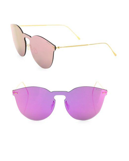 Illesteva - Pink Leonard Ii 50mm Mirrored Mask Sunglasses - Lyst