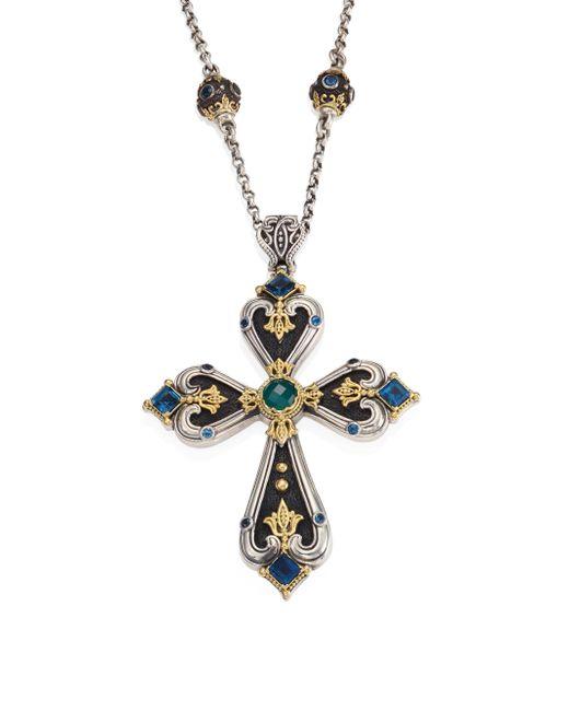 Konstantino | Metallic Nemesis London Blue Topaz & Green Agate Cross Pendant | Lyst