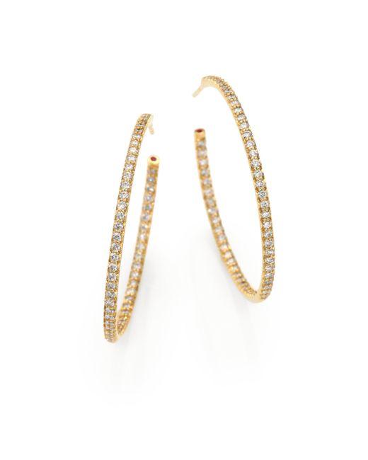 Roberto Coin | Metallic Diamond & 18k Gold Inside-outside Hoop Earrings/1.35 | Lyst