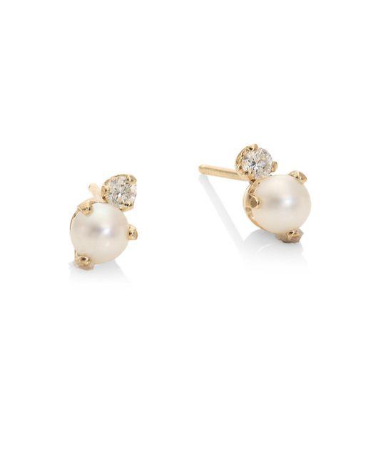 Zoe Chicco | Metallic White Diamond, 4mm Round White Freshwater Pearl, & 14k Yellow Gold Stud Earrings | Lyst