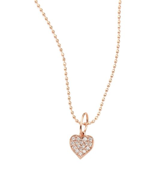 Sydney Evan - Metallic Heart Diamond & 14k Rose Gold Pendant Necklace - Lyst