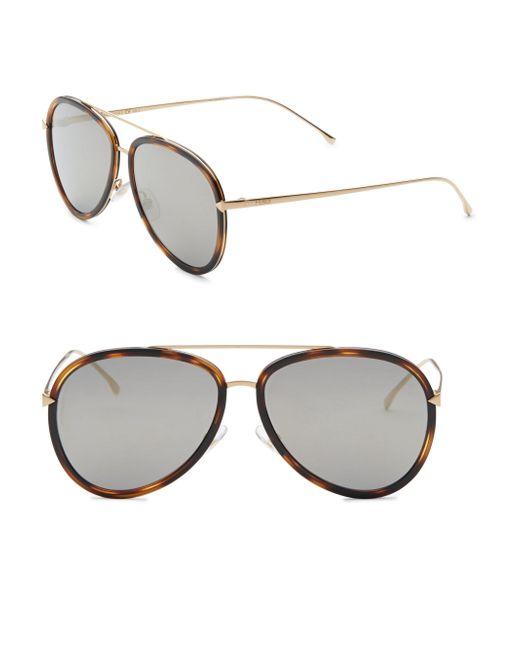 Fendi - Multicolor Women's 57mm Aviator Sunglasses - Havana - Lyst