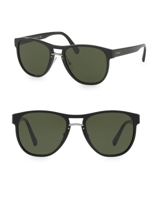 Prada - Black 55mm Linea Rossa Wayfarer Sunglasses for Men - Lyst