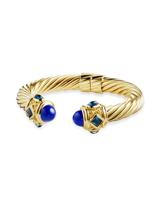 David Yurman - Metallic Renaissance Bracelet With Lapis Lazuli And Hampton Blue Topaz In 18k Gold - Lyst