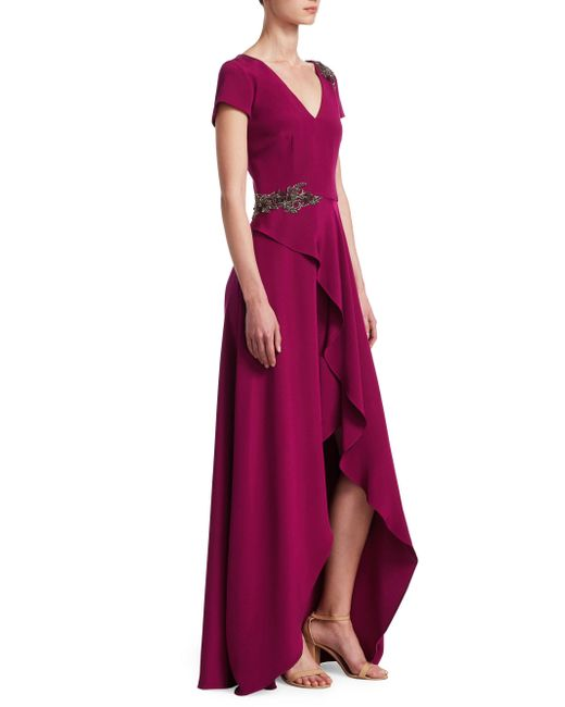 David Meister - Purple Embellished Ruffle Slit Gown - Lyst