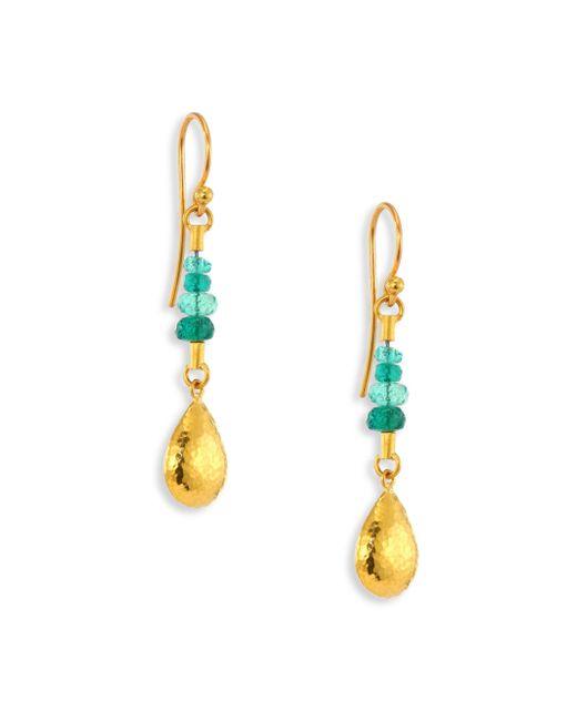 Gurhan - Metallic Delicate Rain Emerald & 24k Yellow Gold Drop Earrings - Lyst