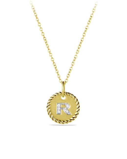 David Yurman - Metallic Initial Pendant With Diamonds In Gold On Chain - Lyst