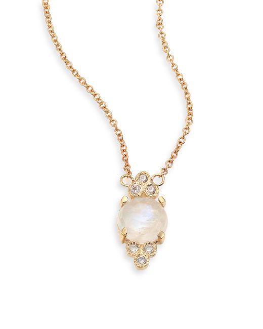 Jacquie Aiche - Metallic Diamond, Moonstone & 14k Yellow Gold Pendant Necklace - Lyst