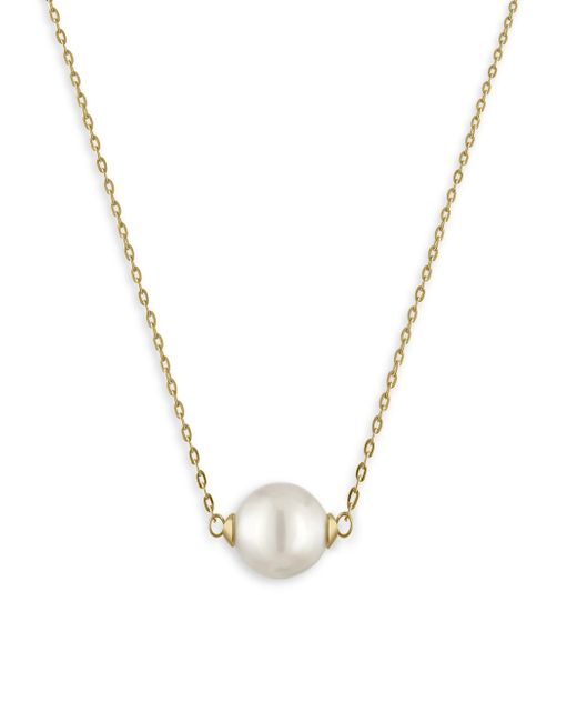 Majorica | Metallic 10mm White Pearl & Goldtone Stainless Steel Pendant Necklace | Lyst