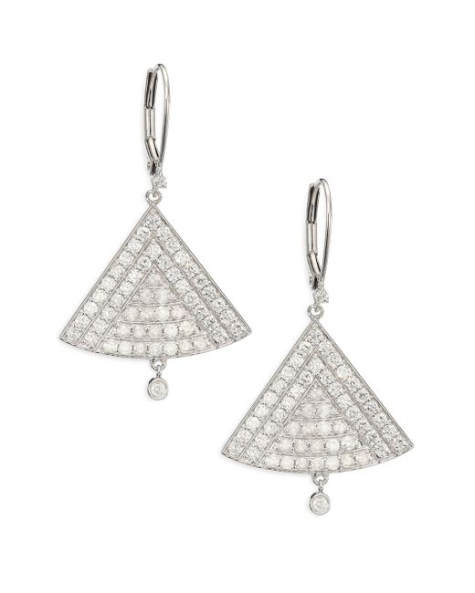 Meira T | Metallic Diamond & 14k White Gold Triangle Drop Earrings | Lyst