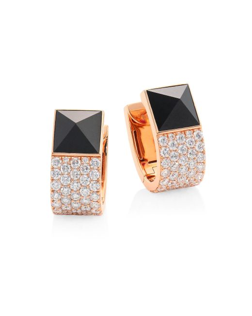 Roberto Coin - Multicolor Prive Pyramid Pave Diamond & Black Jade Earrings - Lyst