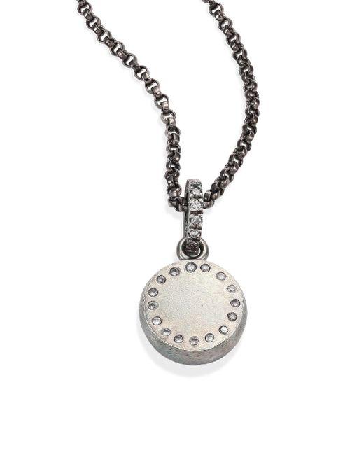 Rene Escobar - Metallic Small Diamond & Sterling Silver Round Pendant Necklace - Lyst